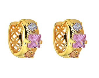 14k Gold Filled Earring with a Pinkish Square Centered Stone