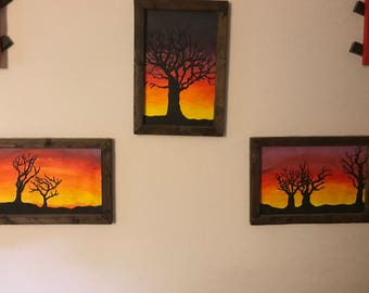 Horizon Silhouette Framed in Recycled Burnt Wood