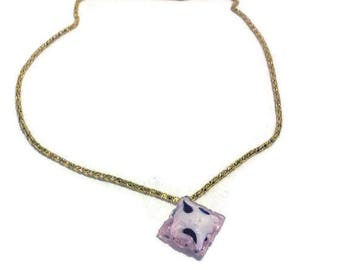 Delicate Pink Glass Necklace