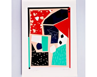 Cut Out 1 Limited Edition Screen Print, Neon Pink, Green, Hand Printed, Fashion Illustration, Geometric Art, Fashion Art, Original Art