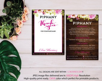 Piphany Care Instruction Card, Piphany Thank You Card, Watercolor Flower Card, Custom Piphany Marketing, Printable Card - Digital file