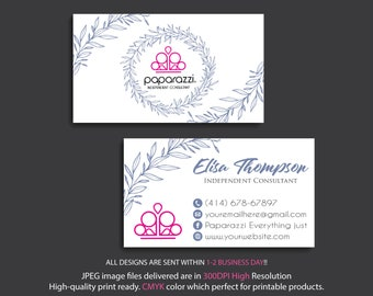 Paparazzi Business Cards, PERSONALIZED Paparazzi Business Card, Floral Flower Cards, Free Personalization, Printable Business Card PP22