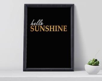 Hello Sunshine Print, Typography wall art, Typography poster, Typography Print, Modern Typoghraphy Art, Home Decor, Gift for Her, Wall art