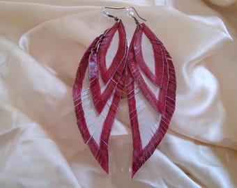 Earrings, Leather Feather Earrings, Feather Earrings, Modern Earrings, Boho Earrings, Indigenous, Orecchini,orecchini tribali