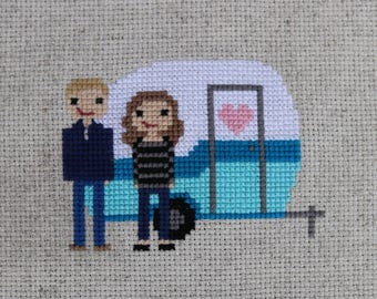 Happy Campers Custom Cross Stitch Couple