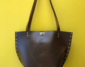 Valz Chocolate Brown Leather Shoulder Tote Bag