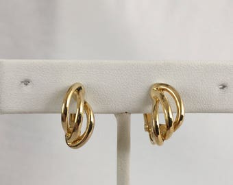 Napier Small Twisted Hoop Earrings, Gold Tone, Screwback, Clip On, Vintage, 1980s