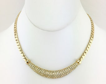 Christian Dior Crystal Choker Necklace, Pave Rhinestones, Gold Tone Chain, Bib Necklace, Vintage, 1980s