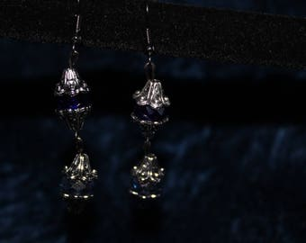 Double Drop Blue and Silver Earrings