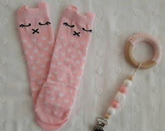 Baby pink kitty cat knee high socks 0-1 yr