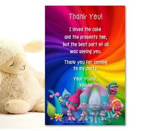 Trolls Birthday Party Thank You Card Rainbow Poppy Guy Diamond Printable DIY - Digital File