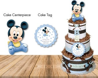 Personalized Baby Shower Baby Mickey First Birthday 1st Birthday Party Cake Centerpiece Cake Tag Sticker Light Blue Diaper Cake DIY -Digital