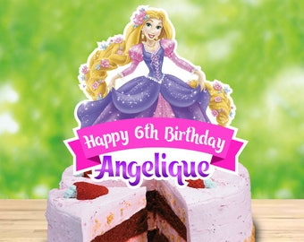 Personalized Rapunzel Cake Centerpiece Tangled Birthday Party Cake Topper Printable DIY - Digital File