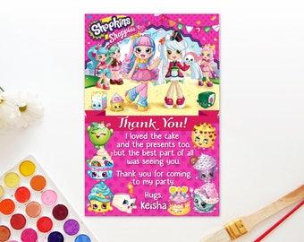 Personalized Shopkins Shoppies Thank You Card Rainbow Kate Sara Sushi Birthday Party Pink Polka Dots Printable DIY - Digital File