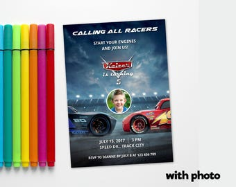 Personalized Cars 3 Birthday Party Photo Card Lightning Mcqueen and Jackson Storm Invitation Printable Invite DIY