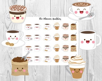 Coffee Planner Stickers, Planner Stickers, Coffee, Coffee Run Sampler