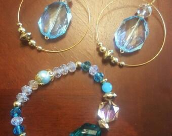 Blue and Gold Jewelry Set/ Gold Hoop Earrings/ Aquamarine Bracelets/ Bracelet and Earrings Set