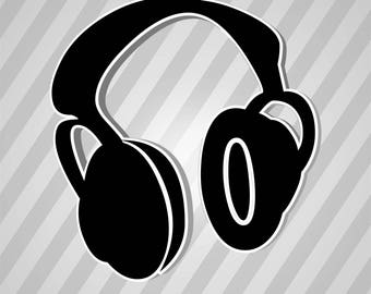 Headphones icon - Svg Dxf Eps Silhouette Rld RDWorks Pdf Png AI Files Digital Cut Vector File Svg File Cricut Laser Cut