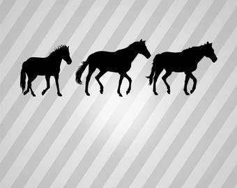 horses running Silhouette - Svg Dxf Eps Silhouette Rld RDWorks Pdf Png AI Files Digital Cut Vector File Svg File Cricut Laser Cut