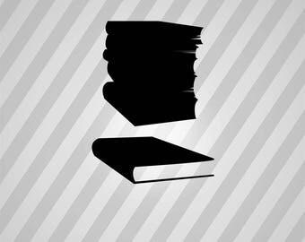 Book Stack Books Silhouette Book - Svg Dxf Eps Silhouette Rld RDWorks Pdf Png AI Files Digital Cut Vector File Svg File Cricut Laser Cut
