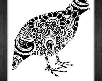 Quail Papercut Template Mandala Henna - Svg Paper Cut Templates Stencil Line Art Pdf Cut Files Digital Clip Art Drawing