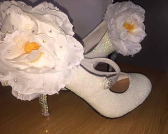 White glitter heels-flowers-shoes, soarkly-wedding