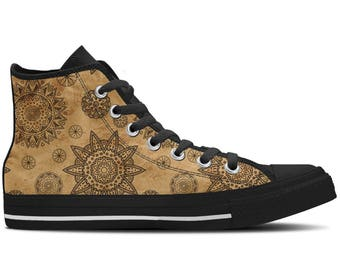 Women's High Top Sneaker with Henna Tattoo Designs and Black Soles 'Ethnic Earth' - Brown/Black