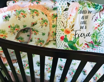 "Cactus Nursery Bedding Set // ""She is Fierce "" Cactus Crib Bedding Set"