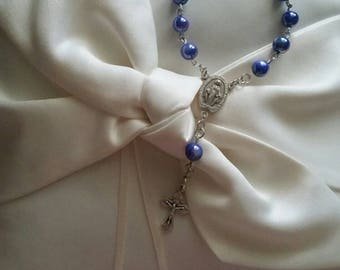 Blue glass pearl one decade car rosary with Miraculous Medal center