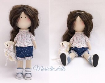 Mariottina doll Textile doll Handmade doll Fabric doll Tilda doll Soft doll Cloth doll Collectible doll Rag doll Interior doll by Mariotta