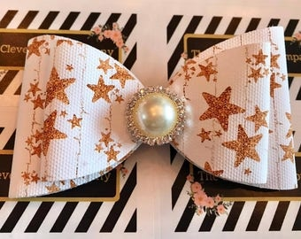 Big Gold Stars Hair Bow
