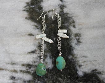 Tibetian Turquoise and Pearls Beaded Gemstone Earrings in 925 Sterling Silver