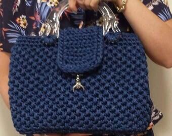 Handmace crochet handbag - navy
