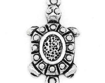 1 connector turtle antique silver metal 2.3 * 1.3 cm