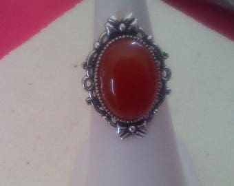 Adjustable silver silver ring with oval cabochon gem stone 18 x 13 mm red carnelian stone