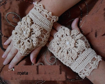 beige lace fingerless gloves
