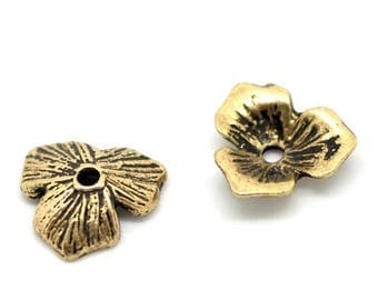 set of 10 cups flower 3 petals Golden 11X10mm