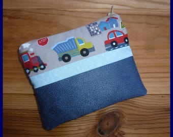 """Kit multi function """"My car, truck"""" nubuck fabric and blue cotton"""