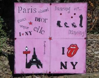 Unique PARIS acrylic painting