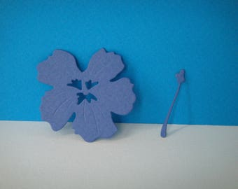 Navy Blue hibiscus cutout for scrapbooking and card