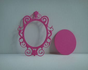 Cut out frame mirror in the dark for scrapbooking and card pink drawing paper
