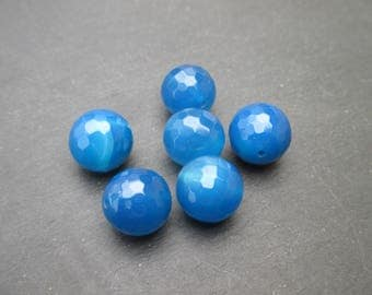 Blue agate: 2 round faceted 12 mm - gemstones