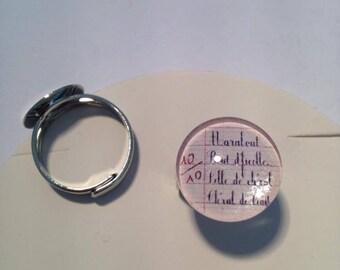 "Beautiful ring adjustable silver Metal Vintage ""Dunce marabou"" school teacher"