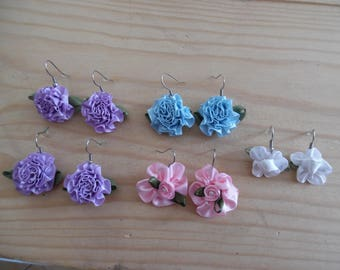 Earrings, beautiful satin flower, on stainless steel hooks. Blue, purple, pink and white.