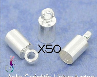 50 silver plated end caps to stick for Ribbon, lace, cord up to 3mm A264