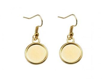 10 blank cabochon 12 mm, gold earrings