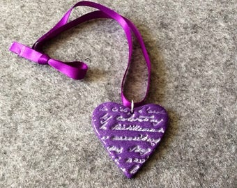 Message with polymer clay Heart Necklace