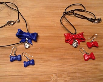 Set necklace and earrings bows