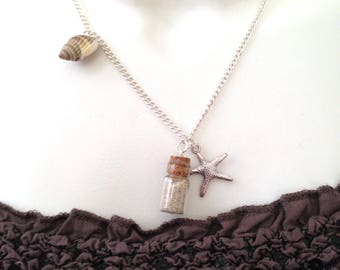Necklace short vial vacation sand, starfish, shell