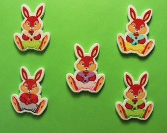 LOT 5 wood buttons: 5 Bunny colors 25 * 32 mm